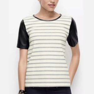 Ann Taylor black white stripe faux leather sleeves